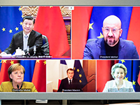 European leaders and Xi Jinping during the videoconference that sealed the EU-China investment