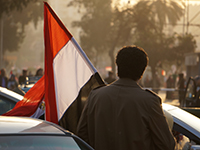 A man carrying a flag on his way to a pro government protest in Cairo on 25 February 2014. (Photo: Sebastian Horndasch, flickr, http://bit.ly/2m7HU0e, CC BY 2.0)