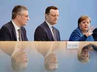 Lothar H. Wieler, Jens Spahn and Angela Merkel during the press conference on the Corona Virus (Photo: picture alliance/Kay Nietfeld/dpa): Lothar H. Wieler, Jens Spahn and Angela Merkel during the press conference on the Corona Virus (Photo: picture alliance/Kay Nietfeld/dpa)