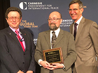 Prof William Potter, Prof Harald Müller und Dr George Perkovich (left to right; Photo: Carnegie Endowment)
